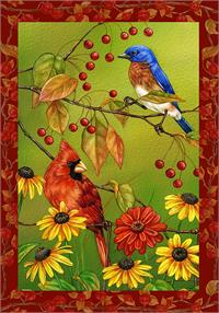 Toland Flag, Birds 'N' Berries - Garden Flag