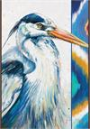 Toland Flag, Hand Painted Heron - Garden Flag